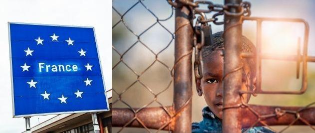 Image d'illustration : enfant prisonnier à côté du panneau frontalier France